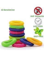 Premium Naturals Moskito Repellent Armbänder, eLander 12 Pack Best Pest Control Repeller bis zu 250Hrs Schutz gegen Mücken & Insekten - Outdoor & Indoor