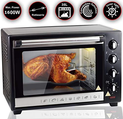 38L Mini-Backofen mit Drehspieß Umluft Pizzaofen Ofen, Backofen mit Innenbeleuchtung, Timer 1600 Watt BO38D