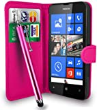 Gbos Nokia Lumia 520 Hot Pink Leather Wallet Flip Case Cover Pouch + Free Screen Protector & Touch Stylus Pen - Hot Pink