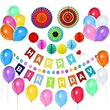 Liyoung Geburtstag Dekorationen 31 Pack Kit -Alles Gute Zum Geburtstag Set Banner Fahnen,6 Bunte Wabenbälle,3 Papierfächer, 20 Ballons, 200cm Polkadot-Girlande für Den Geburtstag (Bunt)