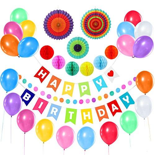 3 Papierfächer (Liyoung Geburtstag Dekorationen 31 Pack Kit -Alles Gute Zum Geburtstag Set Banner Fahnen,6 Bunte Wabenbälle,3 Papierfächer, 20 Ballons, 200cm Polkadot-Girlande für Den Geburtstag (Bunt))