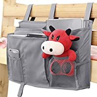 Bedside Caddy 8 Pockets Boy Bot Bed/Bunks Hanging Organiser Pocket for Cabin Beds Sofa Tidy Organiser Storage Bag for TV Remote Controller Apple iPad iPhone Tissue Kids diaper Toys Feeding Bottles, Black