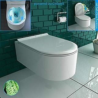 Design Spülrandlos Hänge WC Toilette mit WC-Sitz Rimless Wand WC inkl. Nano passend zu Geberit
