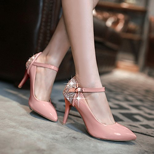 YE Damen Knöchelriemchen High Heels Spitze Lackleder Glitzer Stiletto Pumps mit Pailletten und Schnalle Elegant Schuhe Rosa