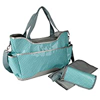 Baby Diaper Bag by Yodo - Super Easy Clean - Plus Changing Pad and Insulated Bottle Holder, Blue Polka Dot