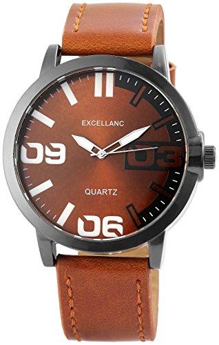 Braun Men's Watch Arabic Numbers Metal Leather Quartz Watch