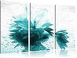 Düstere Lilie mit Zen Steinen Spezial 3-Teiler Leinwandbild 120x80 Bild auf Leinwand, XXL riesige Bilder fertig gerahmt mit Keilrahmen, Kunstdruck auf Wandbild mit Rahmen, günstiger als Gemälde oder Ölbild, kein Poster oder Plakat