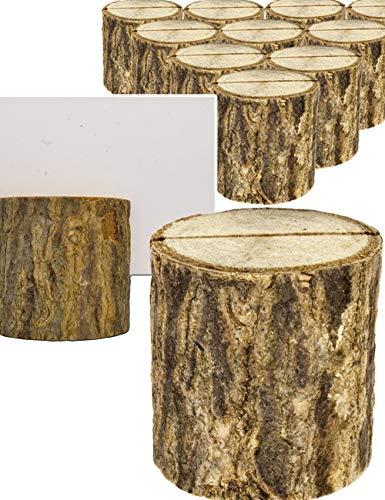 HomeTools.eu® - 10x Karten-Halter Baum-Stämmchen | Speise-Karten, Namens-Schild, Visiten-Karten | Hochzeit, Buffet | echt Holz, 3 x 3,5 cm, 10er Set