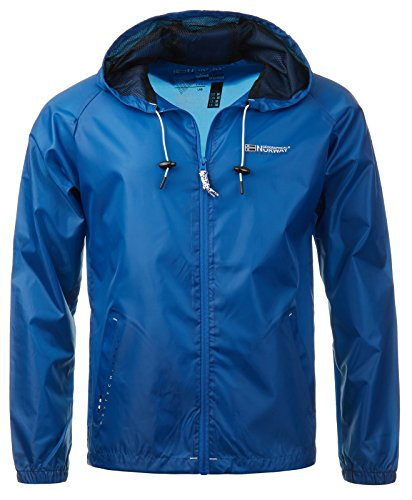 Geographical Norway Herren Windbreaker Übergangs Jacke Regenjacke Kapuze Unifarben Baxter Royalblau