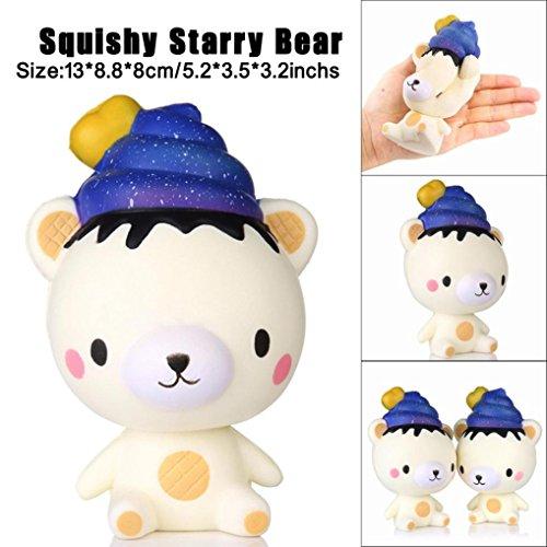 Poo Sternenbär Squeeze Langsam Steigen Spaß Spielzeug Geschenk Telefon Strap Decor (White) (Bulk-neuheit-spielzeug)