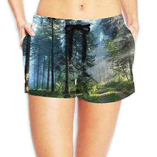 Women's Elastic Waist Casual Beach Shorts Drawstring Green Forest Shorts Swim Trunks Small