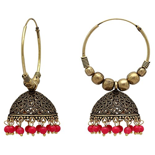 Jaipur Mart Gold Plated Alloy Oxidized Earrings (1 Pair) (GSE814RED)