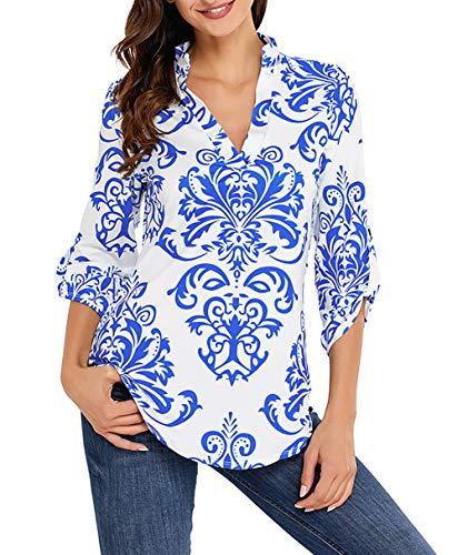 Damen V Ausschnitt Casual Shirts Frauen Druck Muster Bluse Tops (Blau, M/EU 40-42) -