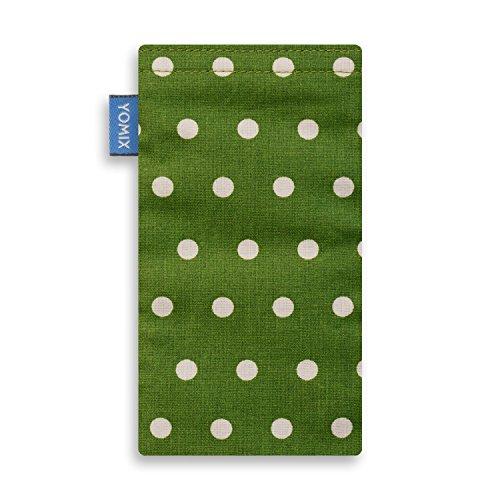 YOMIX Handytasche | Tasche | Hülle MAJA blau für Apple iPhone 5 / 5s / SE aus Cordstoff mit genialer Display-Reinigungsfunktion durch Microfaserinnenfutter GUNILLA grün