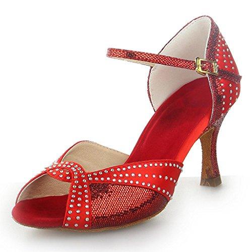 Monie Frauen Professionelle Sexy Strass Salsa-Ballsaal Tango Latin Tanzschuhe 3 Zoll Flare-Ferse Rot