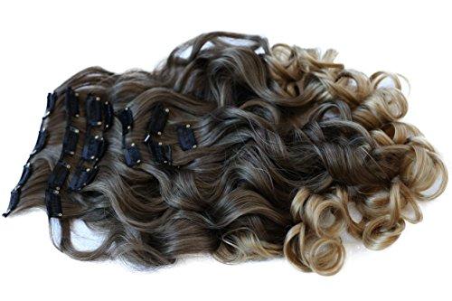 Prettyshop xl set 7 pezzi clip nelle estensioni estensione dei capelli parte dei capelli fibra sintetica termoresistente ombre marrone bionda # 8t25 ce23-1
