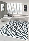 Merinos Skandinavischer Teppich Karo Schwedisches Design waschbar in Creme Schwarz Größe 80 x 300 cm