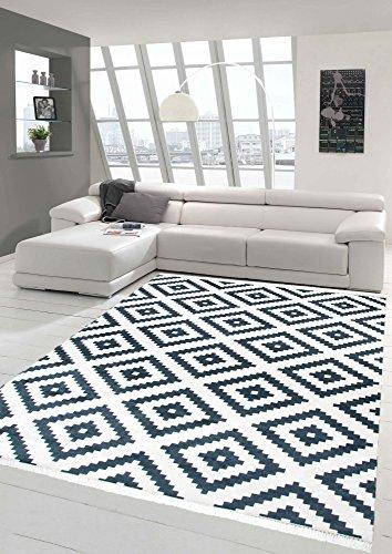Merinos Skandinavischer Teppich Karo Schwedisches Design waschbar in Creme Schwarz Größe 140x200 cm Oval -