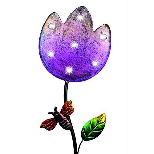SOLAR Lampe Leuchte Gartenstecker Gartenlicht Flowers pink rosa Blume wasserdichte Solarlampe für Ihren Garten , Teich Eingangsbereich (Rosa Emblem)