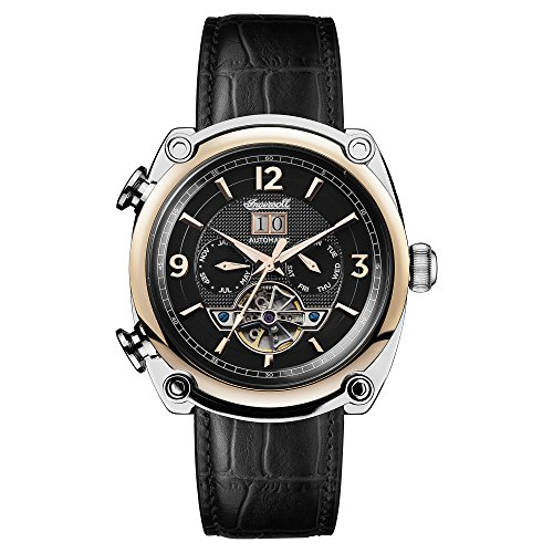 Ingersoll Men's The Michigan Automatic Watch with Black Dial and Black Leather Strap I01102