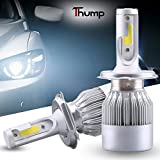 #2: Thump C6 H4 LED Headlight 2 Pcs Bright Headlight Conversion Kit with COB Chip for Motorcycles and Cars - Perfect Replacement of Halogen and HID Bulbs (36W, 7600LM, Set of 2)
