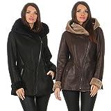 Lammfelljacke - LENA Damen Winterjacke Felljacke Lederjacke Merino Schaffell Size S, Color Schwarz