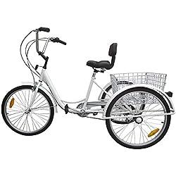 "Paneltech Triciclo para adultos 24 "" 6 velocidades Engranajes 3 ruedas bicicleta para adultos Triciclos adultos women Bike"