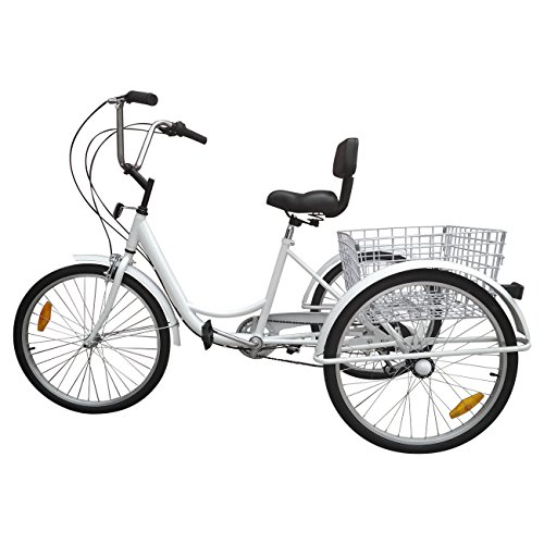 "Paneltech 24 "" 6 Geschwindigkeiten Zahnräder 3 Rad Fahrrad für Erwachsene Adult Tricycle Comfort Fahrrad Outdoor Sports City Urban Fahrradkorb inklusive (Weiß)"
