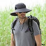 Men's Outdoor Wide Brim Hat Boonie Sunscreen Hat Mesh Bucket Hat for Travel Camping Hiking Fishing Hunting Boating Safari Cap with Adjustable Drawstring (Dark gary)