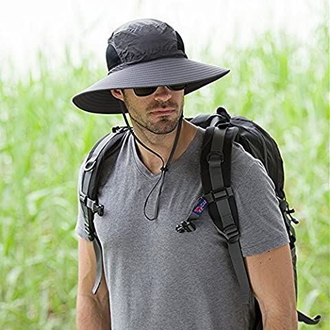 Men's Outdoor Wide Brim Hat Boonie Sunscreen Hat Mesh Bucket Hat for Travel Camping Hiking Fishing Hunting Boating Safari Cap with Adjustable Drawstring (Dark