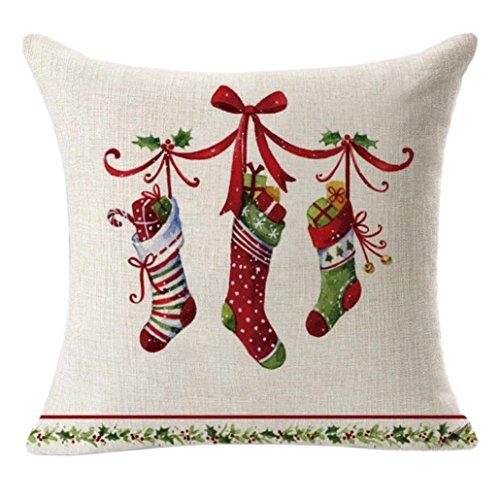 ZIYOU Christmas Zierkissen Hüllen 45 x 45 cm Leinenwurf, Weihnachten Quadratisch Kissen Fall Dekorative Kissen Kissenbezug (D)