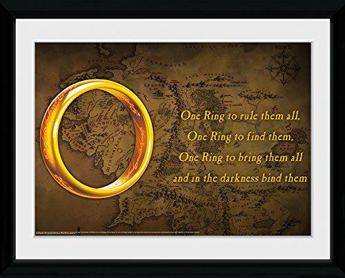 GB eye Poster, 16 x 12 cm, Herr der Ringe, Ring-Motiv, gerahmt - Der Ringe Gerahmte Poster Herr