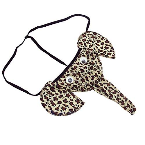 Calzoncillos Elefante,VENMO Elefante Bulto Bolsa Hombres Elástico T Espalda Lencería Tanga Erótico Ropa Interior Atractivo (marrón)