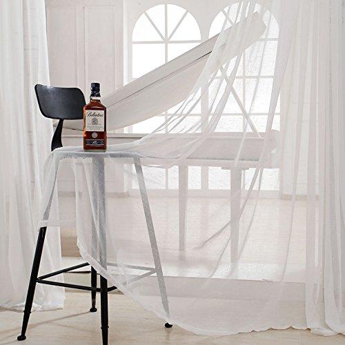 Cosyvie tenda voile in lino bianco tinta unita a occhielli per soggiorno camera 140 x 240 cm design moderno e semplice, bianco, 140x240cm
