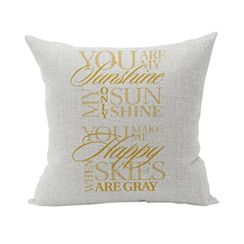 Nunubee Cushion Cover Linen Square Home Decor Pillow Case Decorative Home Accessories  Yellow Words Part 69