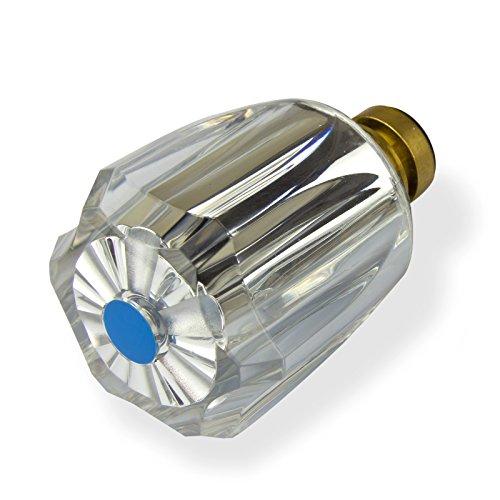 Stabilo-Sanitaer Hahnoberteil 1/ 2 Zoll blau Ventil Ventileinsatz Oberteil Messing Kaltwasser mit Acryl-Griff Ersatzteil Armatur Wasserhahn
