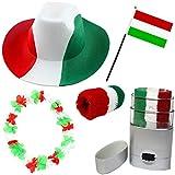 Sonia Originelli Fan Paket Fahne Flagge Schminkstift Cowboyhut Blumenkette Ungarn Hungary rot weiss grün Flag UNG-SET-2