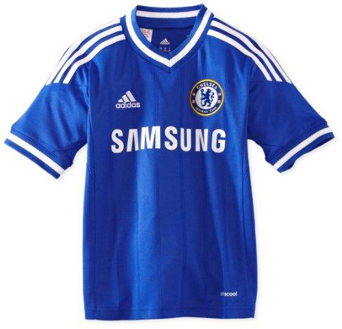 adidas Kinder kurzärmliges Trikot Chelsea FC Home Jersey Youth Black/Vicred/Mtsilv, 128 -