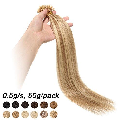 55cm extension capelli veri con cheratina 100 ciocche 50g u-tip remy human hair con meche highlighted, #12/#613 marrone chiaro/biondo chiarissimo