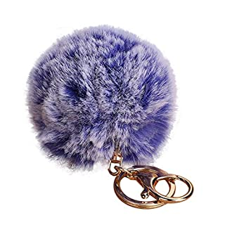 Artistic9(TM) 8CM Pompoms Keychain Handbag Pendant Girls Key Ring Holder Women Car Key Chains (Blue)