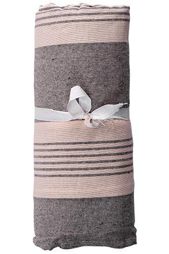Homelife - telo arredo copridivano a righe - lenzuolo copritutto multiuso in cotone - granfoulard copriletto per letto singolo [160 x280] - grigio - made in italy