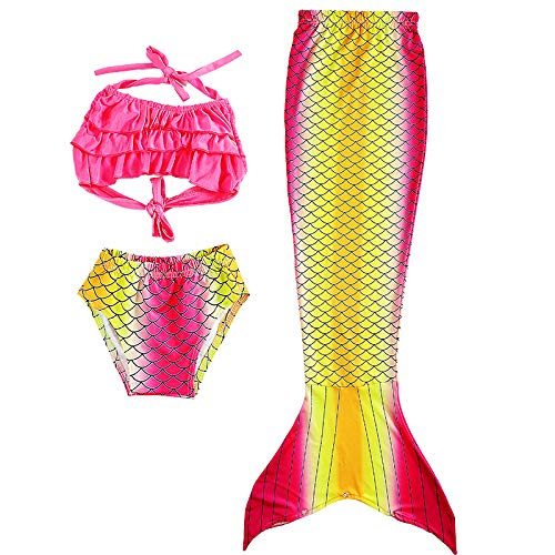 WLM Mädchen Bikini Meerjungfrau Badeanzug, Kinder Badeanzug, Badeanzug, Meerjungfrau Schwanz Kostüm,Rosa,120 cm