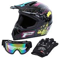 Samger DOT Adult Offroad Helmet Motocross Helmet Dirt Bike ATV Motorcycle Helmet Gloves Goggle (Black, XL)