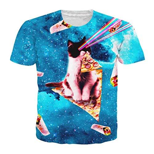 HhGold Gato Gatito Camiseta 3D Unisex Pizza Kitty Galaxy Camisetas Top de Verano Camiseta (Color : Laser Cat T Shirt, tamaño : Medium)