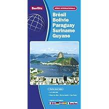 Brésil, Bolivie, Paraguay, Suriname, Guyana, et Guyane française - Carte routière et touristique (échelle : 1/4 000 000) - Plans avec index du centre-ville de Rio de Janeiro et de Sao Paulo.