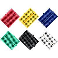 ELEGOO 6 Pièces SYB-170 Points Mini Platine Électronique d'essai Kit Breadboard Multicolore pour Le Projet Arduino (Rouge Bleu Jaune Vert Blanc Noir)