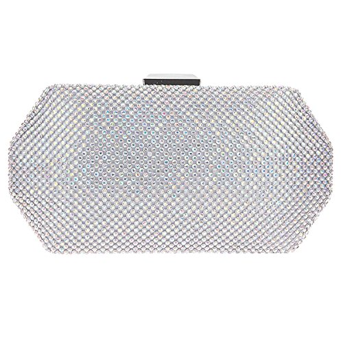 Bonjanvye Prismatic Shaped Rhinestone Purses and Handbags for Women AB Silver AB Silver