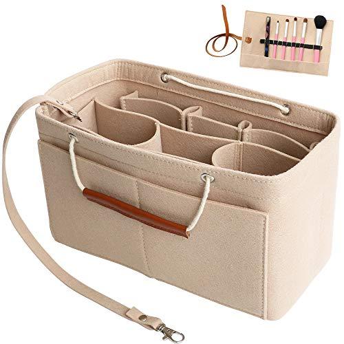 Yoillione Damen Taschenorganizer XL Innentaschen für Handtaschen Einsatz,Tasche in der Tasche Organizer Filz Handtaschen Organizer Large,Beige Bag Organizer für LV Neverfull GM Speedy 40