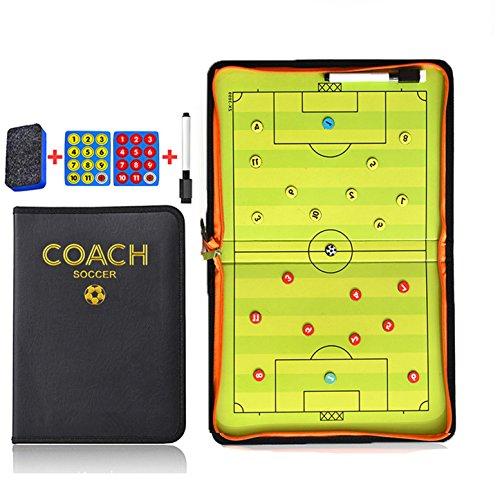 Carpeta Táctica de Futbol para ensayar jugadas y estrategias. Incluye imanes y rotulador. Cierre con cremallera