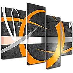 Kunstdruck - Abstrakte Kunst 02 - orange - Bild auf Leinwand - 120x80cm - 4teilig - Leinwandbilder - Urban & Graphic - Kreisring - Formen und Kreise - Glanz - glänzend